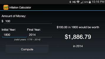 Screenshot of Inflation Calculator 1776-now