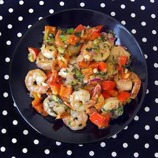 Festive, Italian-Style Shrimp & Red Bell Peppers in Garlic Sauce.