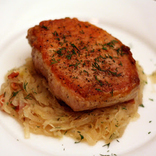 Sauteed Pork Chops with Sauerkraut.
