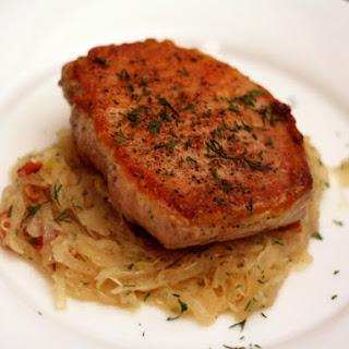 Sauteed Pork Chops with Sauerkraut.