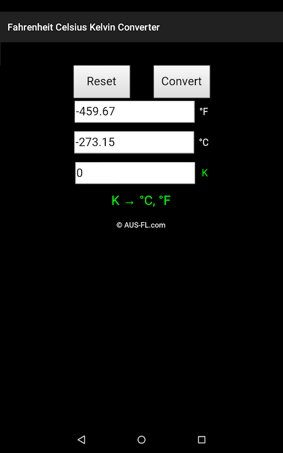 Fahrenheit Celsius Kelvin Conv - Android Apps on Google Play