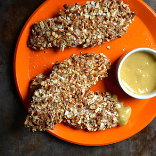 Baked Honey Mustard Pretzel Chicken Tenders.