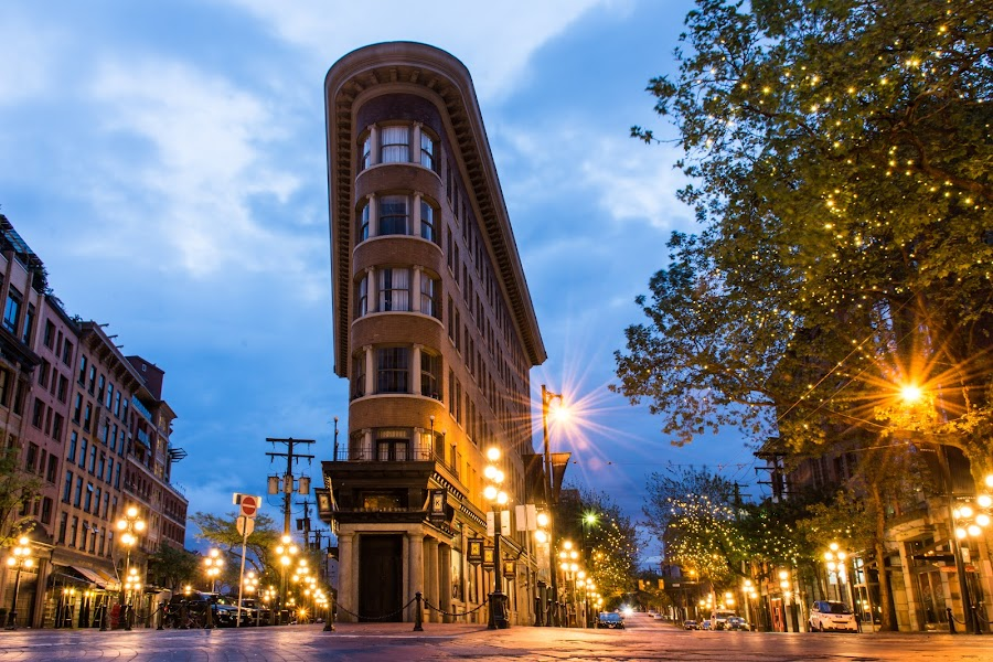 In the early morning by Stephanie Snow - Buildings & Architecture Other Exteriors ( corner, gastown, streetlights, daybreak, vancouver )
