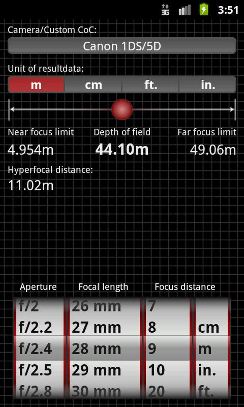 DoF Calc- screenshot