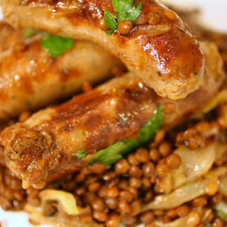 One-Pot Sausages and Lentils with Sweet Roasted Shallots.