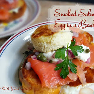 Smoked Salmon Egg in a Basket (Toad in a Hole).