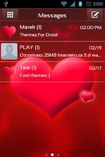 GO SMS Pro Love Theme - screenshot thumbnail