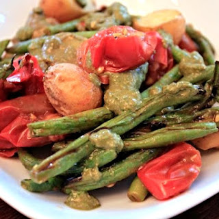 Grilled Green Bean, Tomato, Potato Pesto