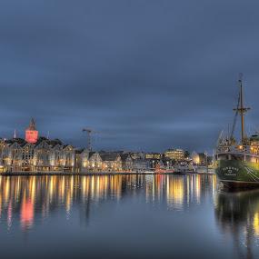 Nightlight by Frøydis Folgerø - City,  Street & Park  Night ( skyline, sea, still, night, boat, light )