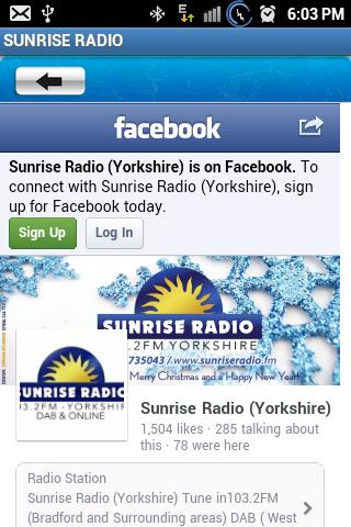 SUNRISE RADIO - screenshot