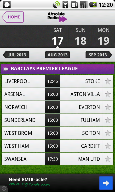 Live Scores - Absolute Radio - screenshot