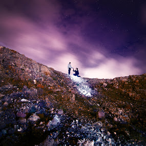 Against all odds. by Dee S. Alkhatib - Landscapes Mountains & Hills ( clouds, hill, sky, girl, guy, stars, night, high, landscapes, stones, longexposure, rocks,  )