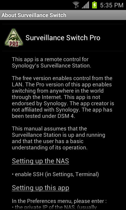 Surveillance Switch Pro - screenshot