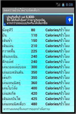 ตารางแคลอรี่อาหาร ลดความอ้วน- screenshot