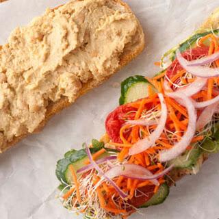 Lemony Hummus and Vegetable Sandwiches.