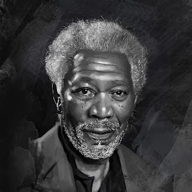 Morgan Freeman by Sandeep Roy - Painting All Painting