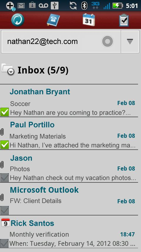 Hotmail ActiveSync 4 Tab- screenshot
