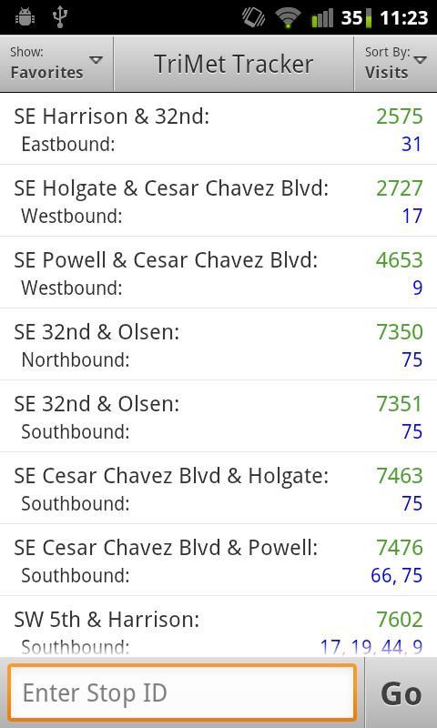 TriMet Tracker- screenshot