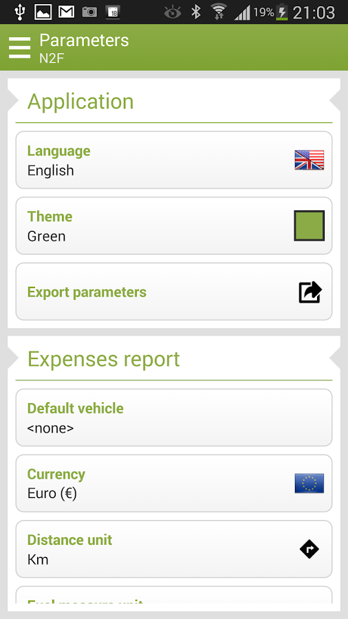 N2F Expense report and mileage - screenshot