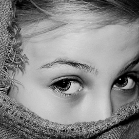 Mysterious  by Susan Farris - Black & White Portraits & People ( girl, female, black and white, mysterious, scarf, eyes, black & white, macro,  )