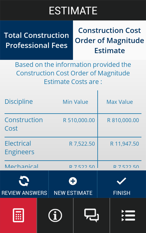 MMQS Cost Calculator- screenshot