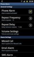 Screenshot of phoneAlarm
