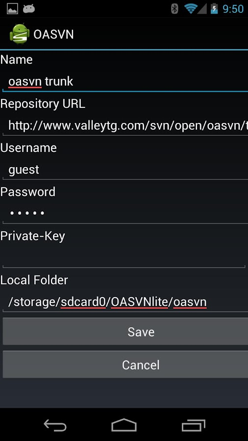 Open Android SVN PRO (OASVN) - screenshot