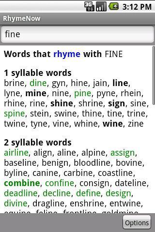 RhymeNow Rhyming Dictionary- screenshot