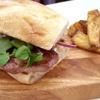 Venison Steak Sandwich With 'no Mayo' Mayo And Parsnip Chips