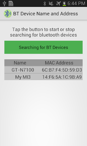 Show Bluetooth Name Address