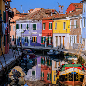 Colorful Burano by Dobrinovphotography Dobrinov - City,  Street & Park  Street Scenes ( famous place, europe, cityscape, travel, architecture, house, multi colored, townhouse, city, color image, no people, cottage, veneto, homes, italy, travel destinations, travel locations, western europe, burano, tourism, italian culture, architecture and buildings, urban scene, southern europe, building exterior, facade, row house, venice - italy, horizontal, residential structure, outdoors, built structure, bungalow, panoramic )