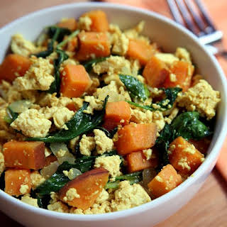Tofu Scramble With Kale and Sweet Potatoes.