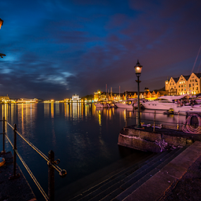 One night in Bergen. by Paulius Bruzdeilynas - City,  Street & Park  Night ( bergen, lantern, harbor, rope, norwegian, blue, night, hour, norge, light, norway,  )