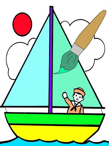 สมุดระบายสีเรือในทะเล