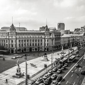 Piața Universității pe fond alb-negru by Matei Edu - City,  Street & Park  Historic Districts (  )