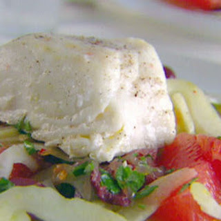 Roasted Halibut with Grapefruit-Fennel Salsa.
