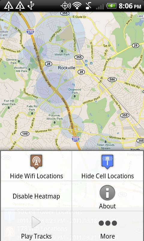 Android Location Cache Viewer - screenshot