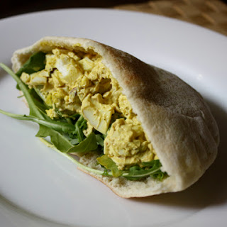 Curried Egg Salad with Arugula and Pistachios
