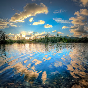 Sky Lake Bottom by Daryl James - Landscapes Waterscapes ( quarry, pano, hdr, coomera river )