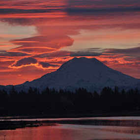 Mt. Rainier Sunrise on American Lake by Donald Casad - Landscapes Sunsets & Sunrises ( mt. rainier, sunrise, american lake,  )