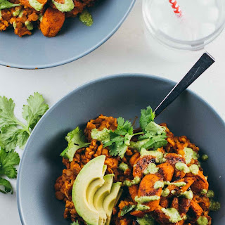 Rice and Lentil Curry Bowls with Cilantro Cashew Sauce