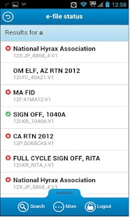e-file Status - screenshot thumbnail