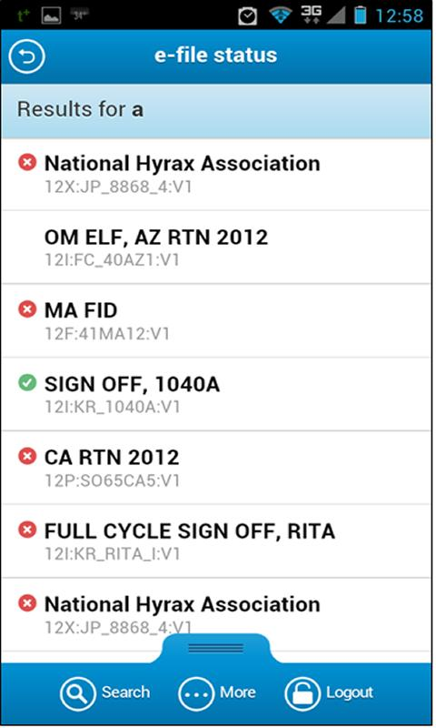 e-file Status - screenshot