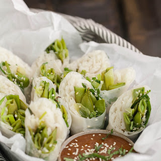Roasted Sugar Snap Pea & Scallion Spring Rolls with Tahini Sauce