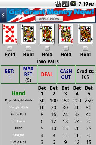 5 Card Draw Free Android App Screens