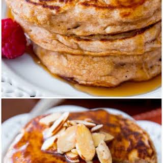 Healthy Whole Wheat Oatmeal Pancakes.