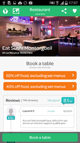 android LaFourchette - Restaurants Screenshot 14