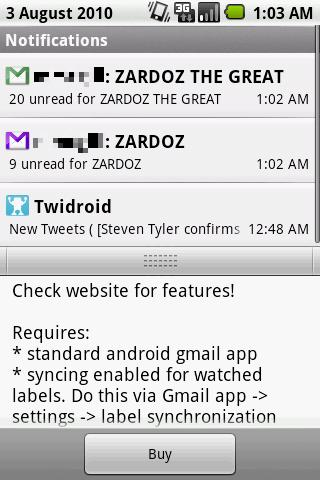 GMail Label Notifier and Widgets v0.999996