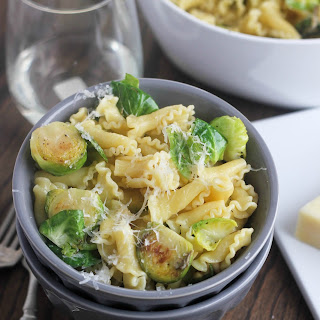 Campanelle with Pan-Roasted Garlic Brussels Sprouts & Pine Nuts.