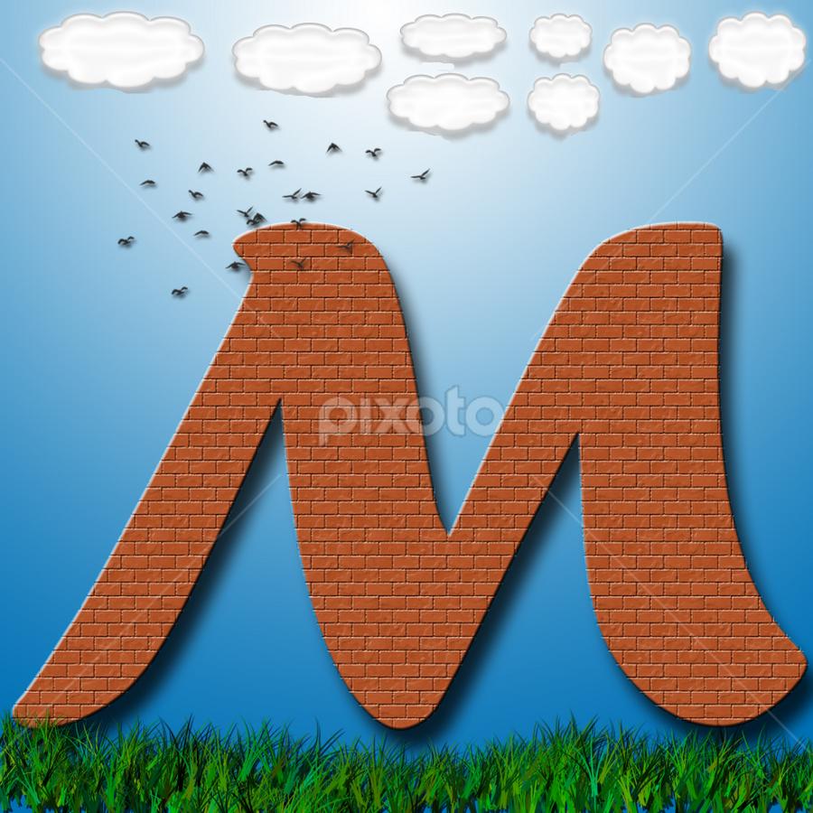 Alphabet - M by Dipali S - Typography Single Letters ( clouds, creation, grass, font, illustration, wallpaper, m, birds, print, pattern, artistic, alphabet, bricks, typography, design )